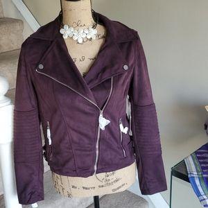 YMI Purple Faux Suede Moto Jacket NWT Size Small